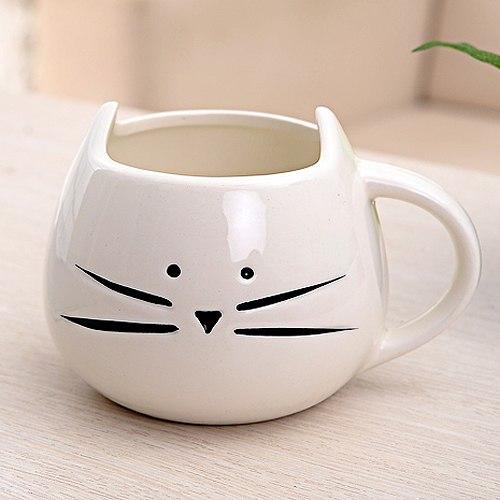 Hrnček - mačacia tvár - biely 2 - pre milovníkov mačiek