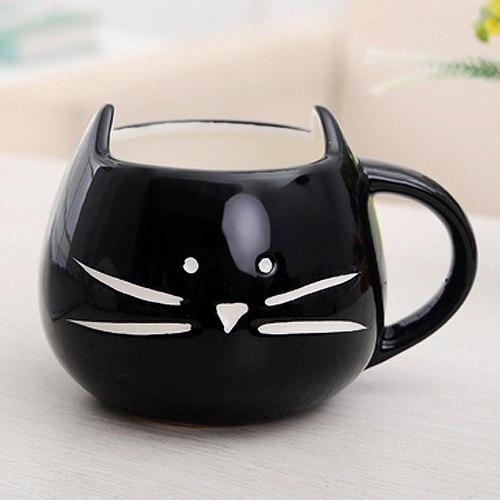 Hrnček - mačacia tvár - čierny 2 - pre milovníkov mačiek