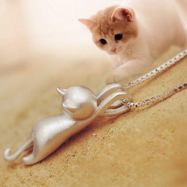 Náhrdelník - visiaca mačička 3 - pre milovníkov mačiek