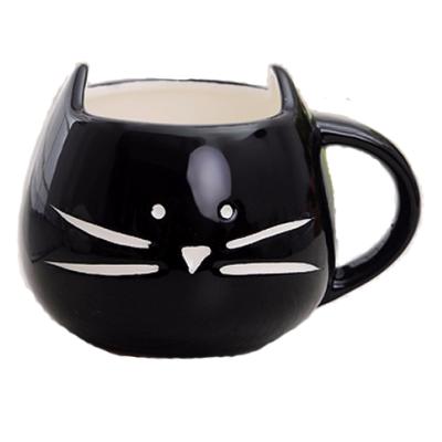 Hrnček - mačacia tvár - čierny 1 - pre milovníkov mačiek