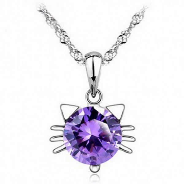 Mačací náhrdelník - fialový 1 - pre milovníkov mačiek