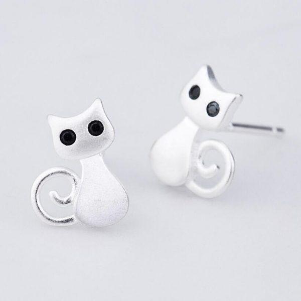 Náušnice - mačička s čiernymi očkami 2 - pre milovníkov mačiek