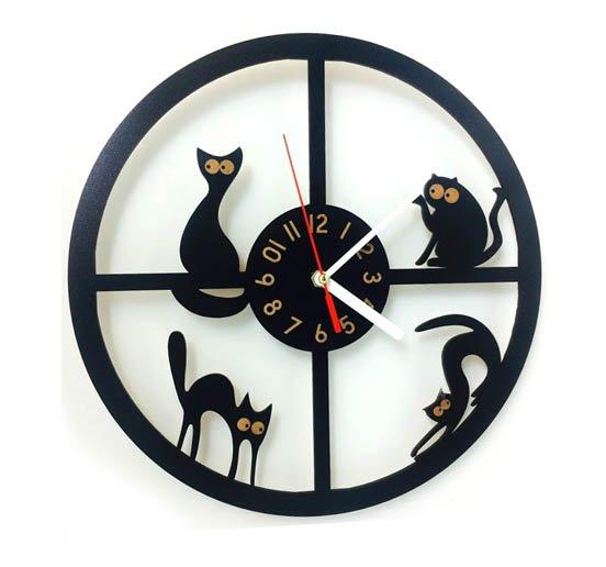 Mačacie hodiny nástenné - kruh 1 - pre milovníkov mačiek