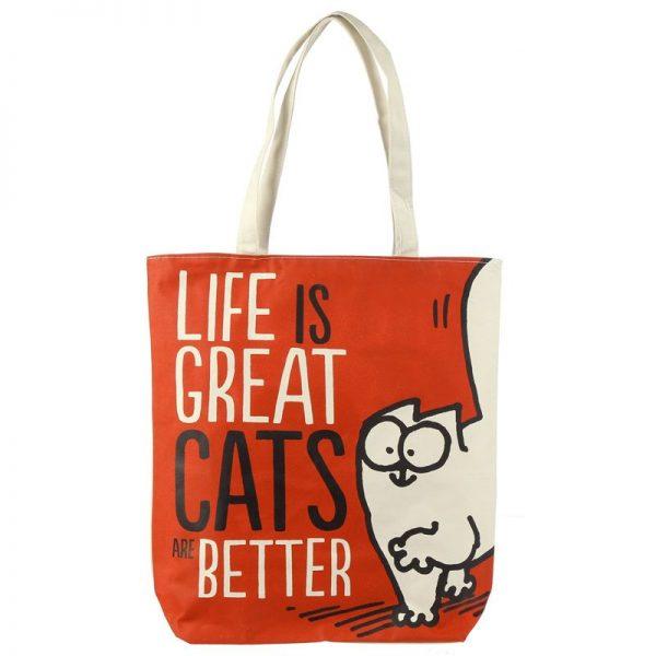 Bavlnená taška Simon's Cat - Life is Great Cats are Better 1 - pre milovníkov mačiek
