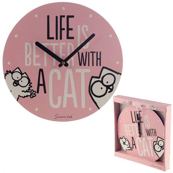 Nástěnné hodiny Simon's Cat - Life Is Better With a Cat 1 - pre milovníkov mačiek