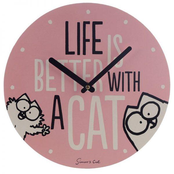 Nástěnné hodiny Simon's Cat - Life Is Better With a Cat 2 - pre milovníkov mačiek