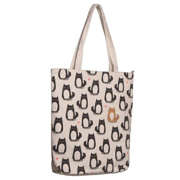 Látková taška so zipsom Feline Fine 1 - pre milovníkov mačiek