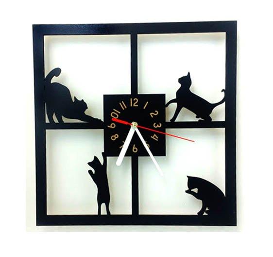 Mačacie hodiny v tvare štorca 1 - pre milovníkov mačiek
