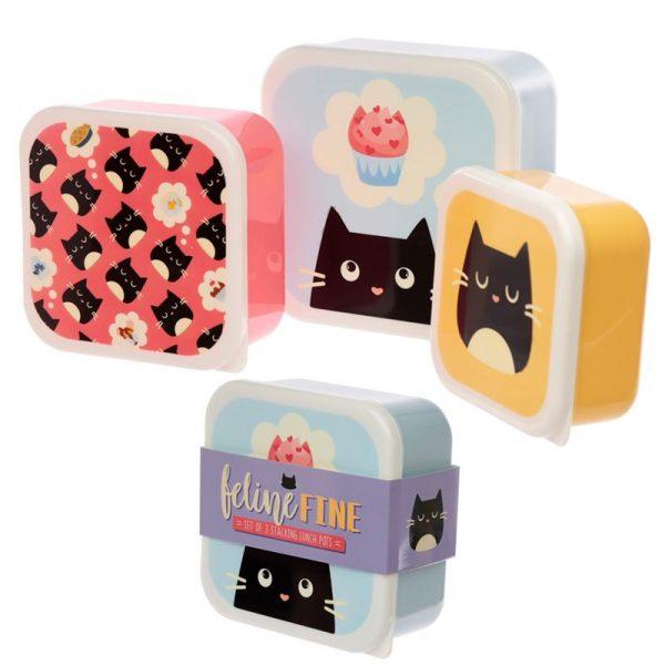 Sada 3 krabiček na jídlo M/L/XL - Feline Fine Kočka 1 - pre milovníkov mačiek
