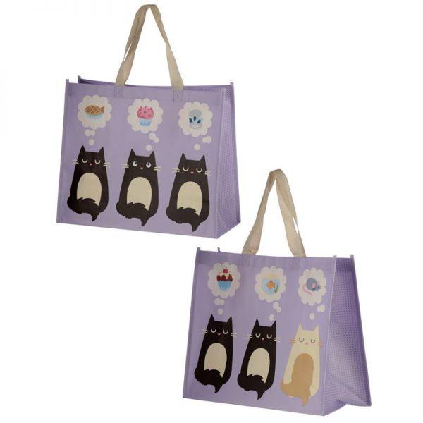 Taška s mačacím motívom - fialová, Feline Fine 1 - pre milovníkov mačiek