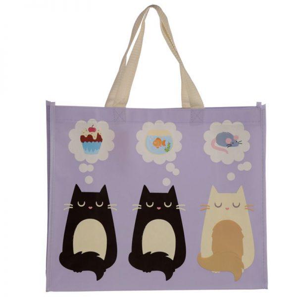 Taška s mačacím motívom - fialová, Feline Fine 2 - pre milovníkov mačiek