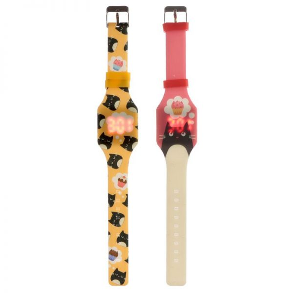 Silikónové digitálne hodinky s mačkou Feline Fine 1 - pre milovníkov mačiek