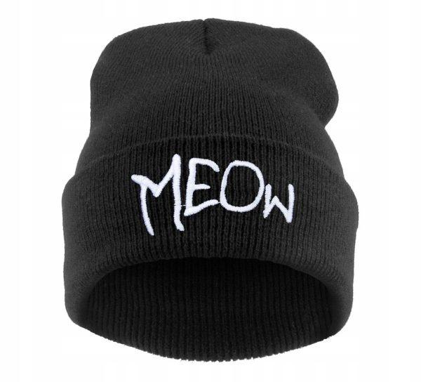 Zimná čiapka s nápisom Meow 1 - pre milovníkov mačiek