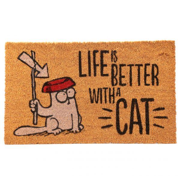 Rohožka z kokosového vlákna s mačacím motívom - Simon's Cat - Life Is Better With A Cat 1 - pre milovníkov mačiek