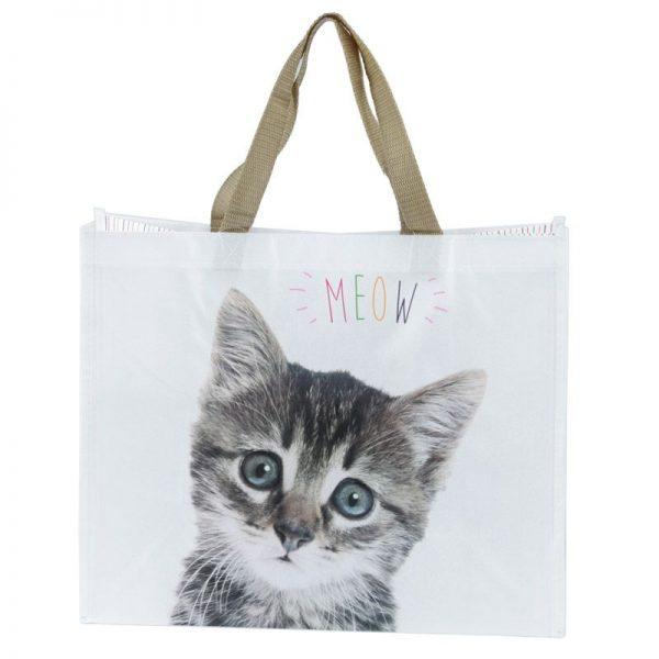 Nákupná taška s mačiatkom a nápisom MEOW 1 - pre milovníkov mačiek