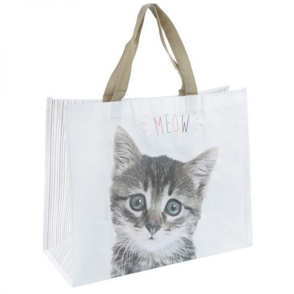 Nákupná taška s mačiatkom a nápisom MEOW 3 - pre milovníkov mačiek