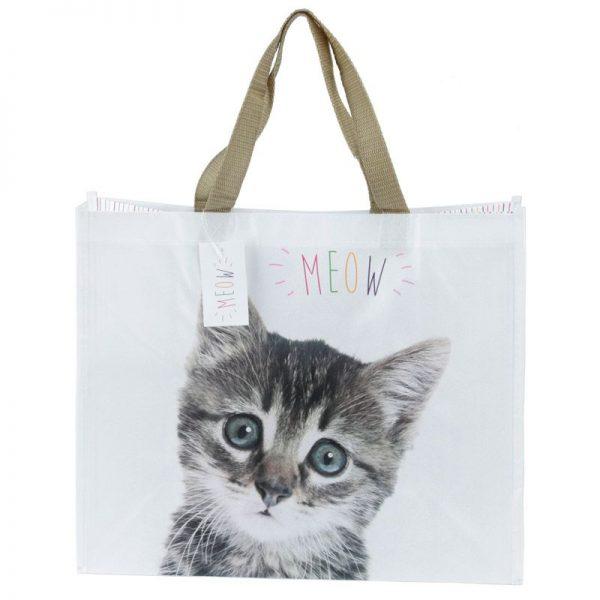 Nákupná taška s mačiatkom a nápisom MEOW 4 - pre milovníkov mačiek