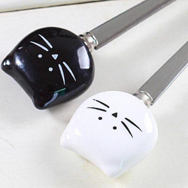 Spoon with a cat - ceramic handle - white 4 - pre milovníkov mačiek