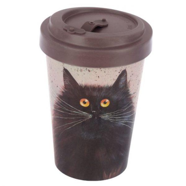 Cestovné termohrnček z bambusového kompozitu Kim Haskins - Mačka 1 - pre milovníkov mačiek
