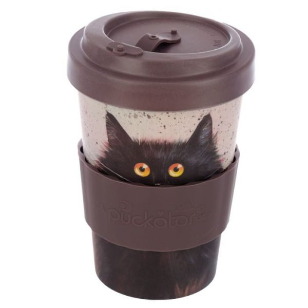 Cestovné termohrnček z bambusového kompozitu Kim Haskins - Mačka 5 - pre milovníkov mačiek