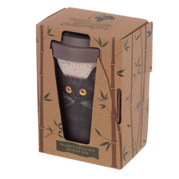 Cestovné termohrnček z bambusového kompozitu Kim Haskins - Mačka 4 - pre milovníkov mačiek