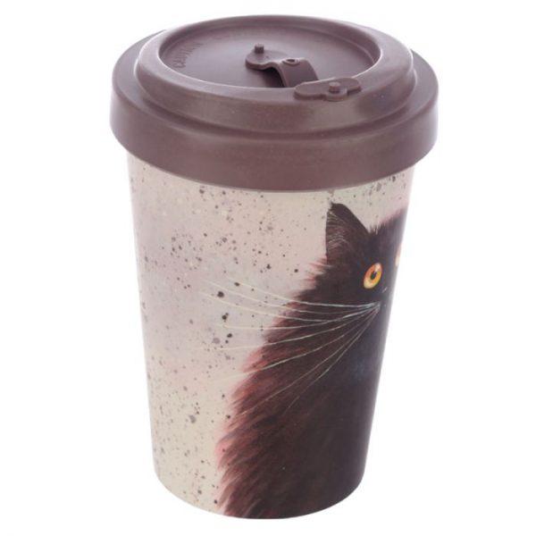 Cestovné termohrnček z bambusového kompozitu Kim Haskins - Mačka 3 - pre milovníkov mačiek