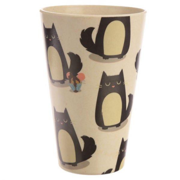 Bambusový Feline Fine znovupoužiteľný termohrnček s mačkou 1 - pre milovníkov mačiek