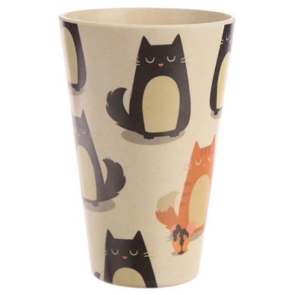 Bambusový Feline Fine znovupoužiteľný termohrnček s mačkou 2 - pre milovníkov mačiek