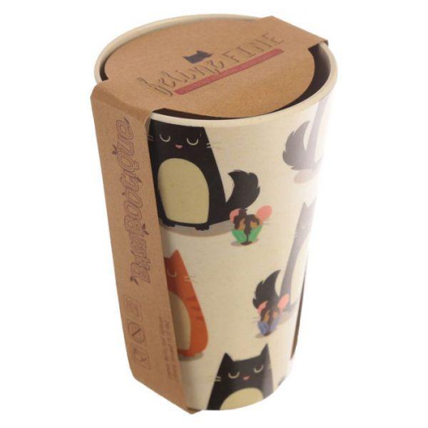Bambusový Feline Fine znovupoužiteľný termohrnček s mačkou 3 - pre milovníkov mačiek