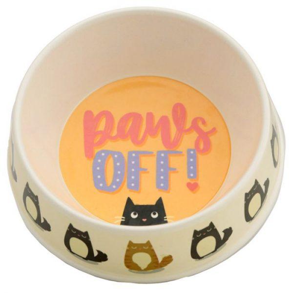 Bambusová Paws Off Mačka Feline Fine miska na jedlo pre mačky 1 - pre milovníkov mačiek