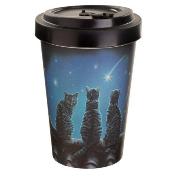 Lisa Parker Wish Upon a Star Cat Cestovný termohrnček z bambusového kompozitu 1 - pre milovníkov mačiek