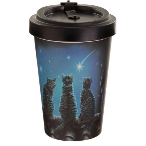 Lisa Parker Wish Upon a Star Cat Cestovný termohrnček z bambusového kompozitu 3 - pre milovníkov mačiek
