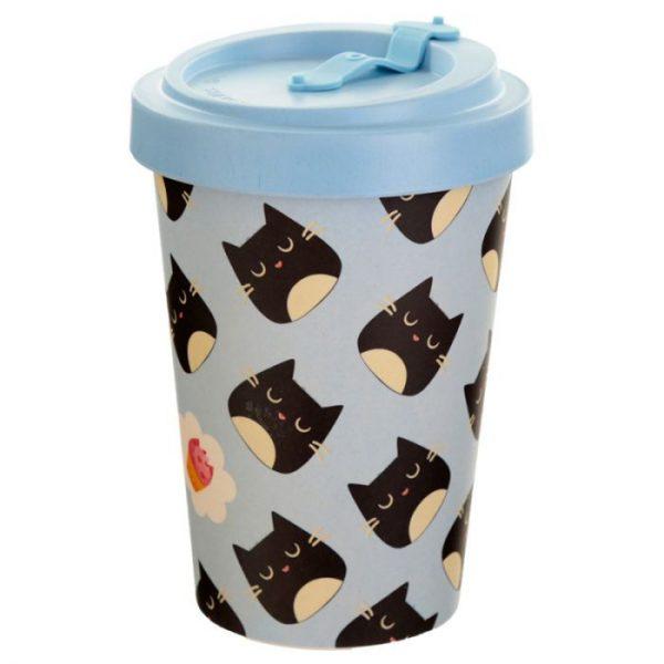 Mačací Feline Fine Cat opakovane použiteľný bambusový cestovný hrnček 2 - pre milovníkov mačiek