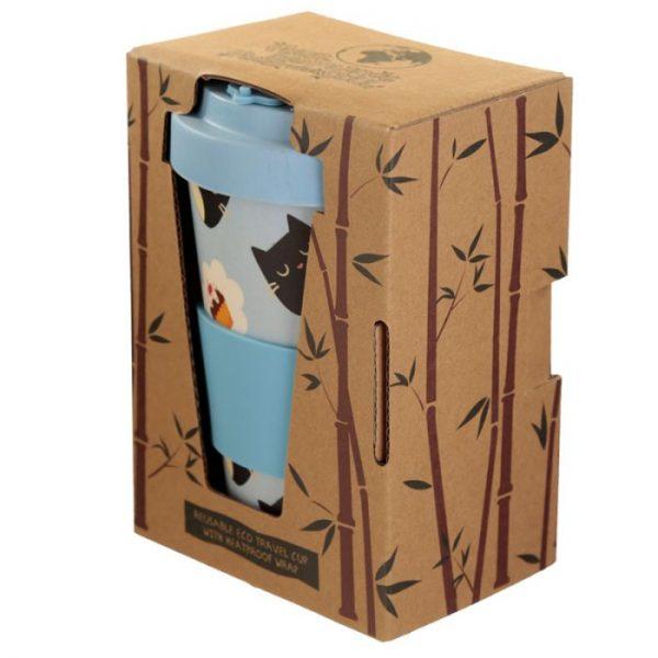Mačací Feline Fine Cat opakovane použiteľný bambusový cestovný hrnček 4 - pre milovníkov mačiek
