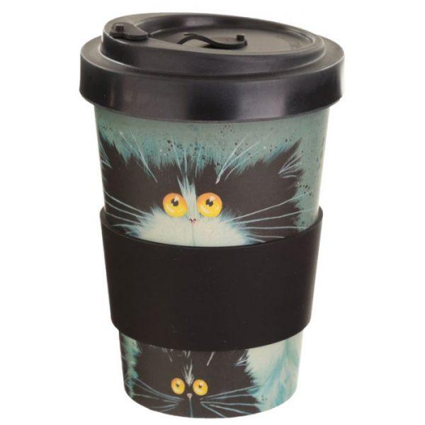 Kim Haskins Cat Print Cestovný termohrnček z bambusového kompozitu 2 - pre milovníkov mačiek