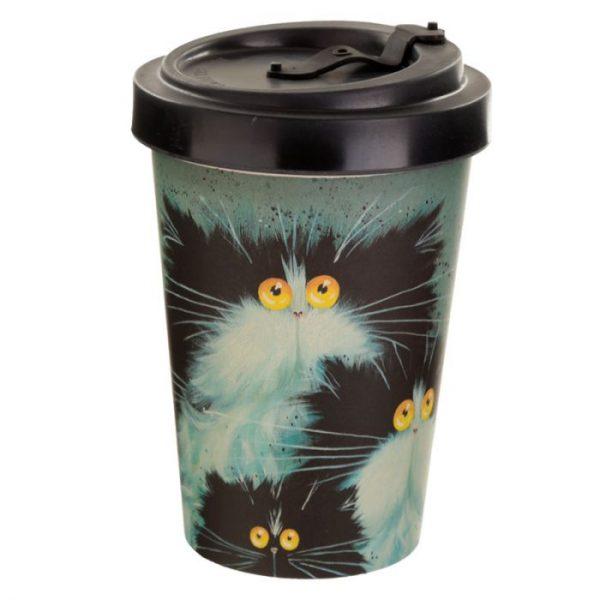 Kim Haskins Cat Print Cestovný termohrnček z bambusového kompozitu 3 - pre milovníkov mačiek