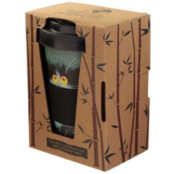 Kim Haskins Cat Print Cestovný termohrnček z bambusového kompozitu 6 - pre milovníkov mačiek