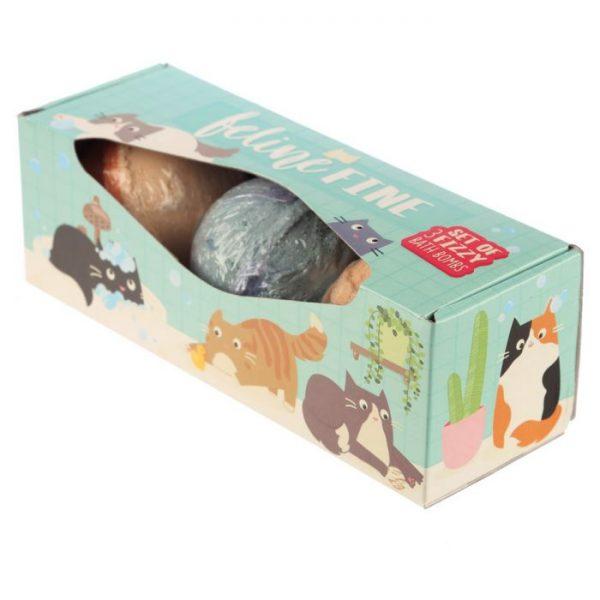 Set 3 kúpeľových gulí Feline Fine Mačka - Cukrové vôňe 3 - pre milovníkov mačiek
