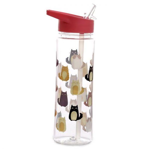 Opakovane použiteľná 550ml plastová fľaša s slamkou - Mačka Feline Fine 1 - pre milovníkov mačiek