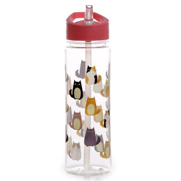 Opakovane použiteľná 550ml plastová fľaša s slamkou - Mačka Feline Fine 5 - pre milovníkov mačiek