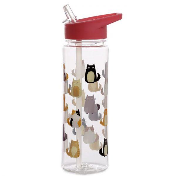Opakovane použiteľná 550ml plastová fľaša s slamkou - Mačka Feline Fine 3 - pre milovníkov mačiek