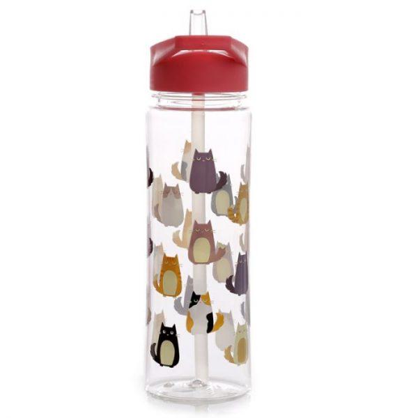 Opakovane použiteľná 550ml plastová fľaša s slamkou - Mačka Feline Fine 2 - pre milovníkov mačiek