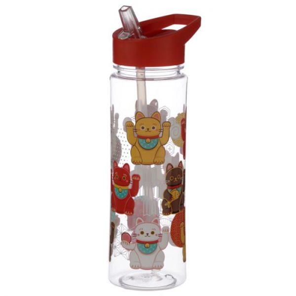 Opakovane použiteľná 550ml plastová fľaša s slamou - Maneki Neko - mačka šťastie 1 - pre milovníkov mačiek