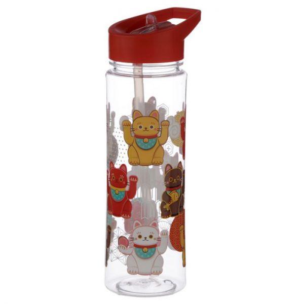 Opakovane použiteľná 550ml plastová fľaša s slamou - Maneki Neko - mačka šťastie 2 - pre milovníkov mačiek