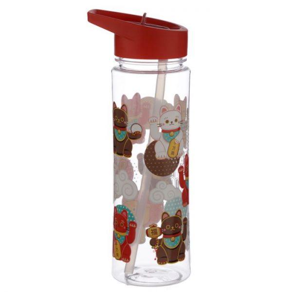 Opakovane použiteľná 550ml plastová fľaša so slamkou - Maneki Neko - mačka šťastia 4 - pre milovníkov mačiek