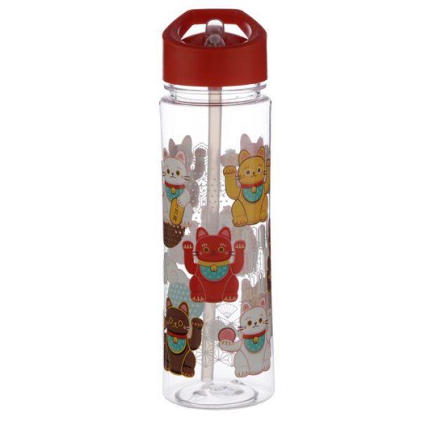 Opakovane použiteľná 550ml plastová fľaša so slamkou - Maneki Neko - mačka šťastia 3 - pre milovníkov mačiek
