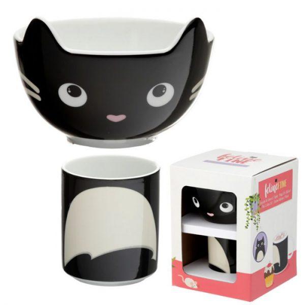 Feline Fine Porcelánový hrnček a miska - set pre deti 3 - pre milovníkov mačiek