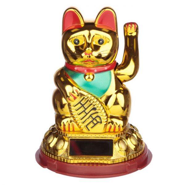 Mávajúca mačička pre šťastie Maneki Neko na solárne nábíjanie - zlatá 1 - pre milovníkov mačiek
