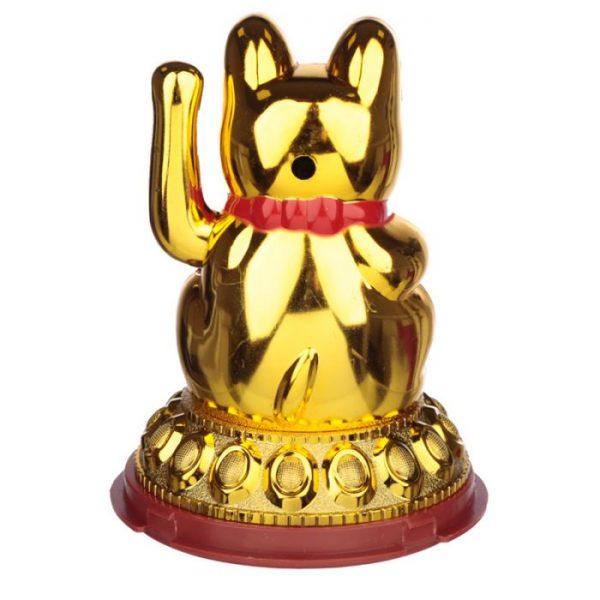 Mávajúca mačička pre šťastie Maneki Neko na solárne nábíjanie - zlatá 5 - pre milovníkov mačiek