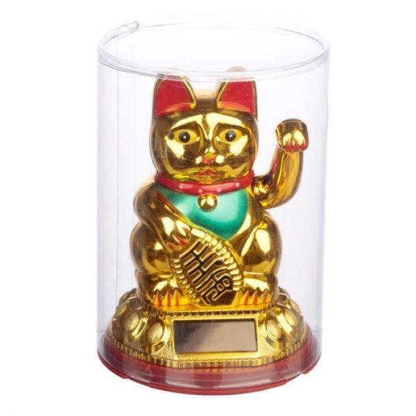 Mávajúca mačička pre šťastie Maneki Neko na solárne nábíjanie - zlatá 2 - pre milovníkov mačiek